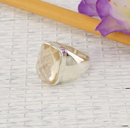 Citrin Ring Sterlingsilber//925 Briolett Gelb rechteckig Unisex NEU