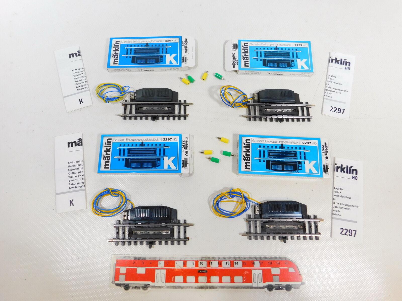 CD9230,5  4x marklin H0AC 2297 Pezzo Sgancio Binari Testato, Mint  scatola