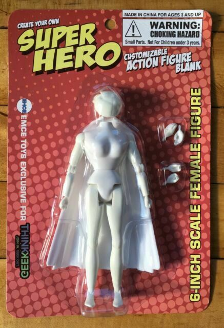 """EMCE Think Geek CREATE YOUR OWN 6"""" Female Super Hero Blank Action Figure NEW"""
