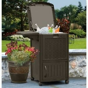 Deck Cooler Wheeled Wicker Cabinet Resin Portable Outdoor