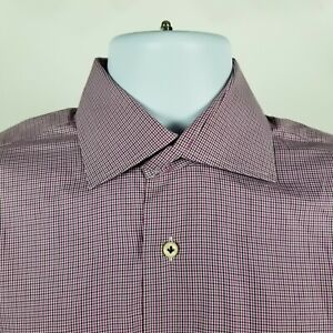 Peter Millar Mens Purple Brown Mini Check Dress Button Shirt Sz Medium M