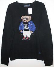 Polo Ralph Lauren Mens Black RL Polo RLX Ski Bear Wool Sweater NWT $395 M