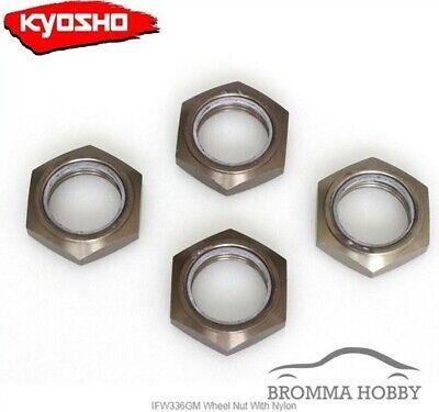 Gunmetal//4pcs//for Serration Kyosho IFW472GM Wheel Nut