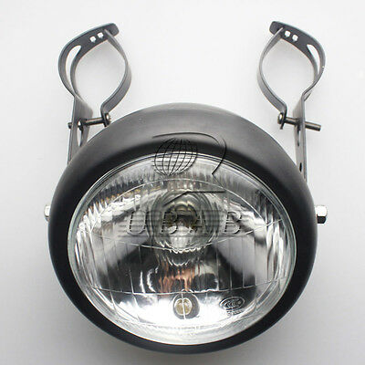 New Black Motorcycle Side Mount Headlight+Mount For Honda Kawasaki Suzuki Yamaha
