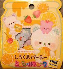 Kawaii CruX White Bear With Fruit Sticker Flakes Sack 42 Stickers