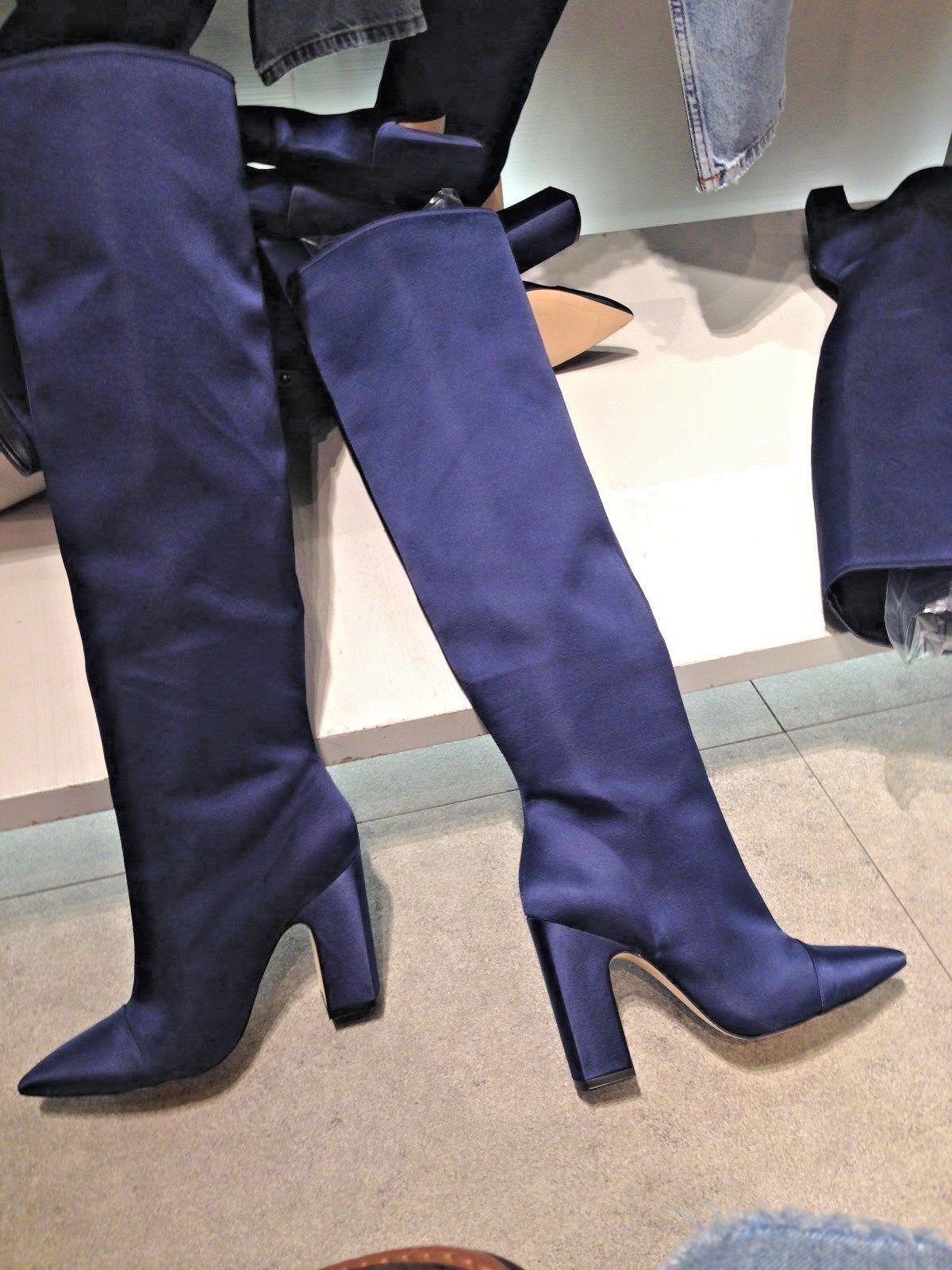 Offriamo vari marchi famosi Zara Zara Zara Blu Satin Tacco Alto Stivali FW17 Tg & 6 EUR 38 & 39 nuovi contrassegni  Senza tasse