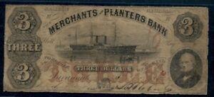 GEORGIA-3-00-Merchants-amp-Planters-Bank-1859-Sidewheeler-Ship-VG-F