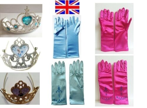 New Beautiful Frozen Elsa Anna Princess Queen Girl Costume Gloves /& Crown U Pick