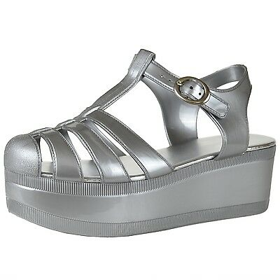 Women's Platform T-Strap Jelly Flatform Sandals with Ankle Strap Silver Shoes