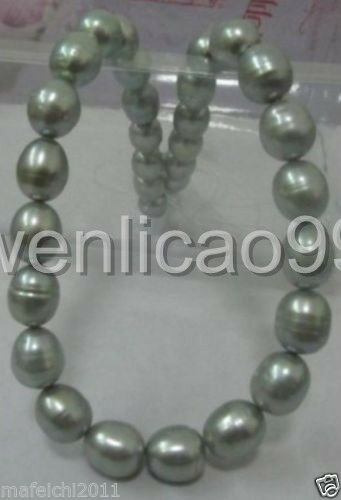 """new 11-13mm tahitian silver gray baroque pearl necklace 18"""" silver Clasp"""