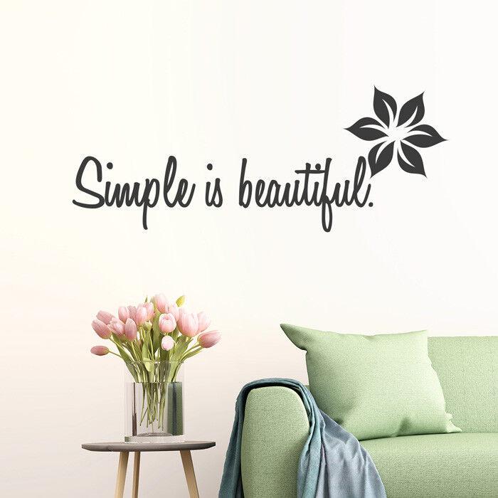 Tatuaggio Parete Proverbio  simple is beautiful , fiori, Adesivo muro, parete adesivo