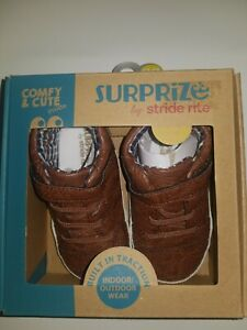 Brown,size 12-18 month Surprize by Stride Rite baby boys Lee Sneaker Mini Shoes