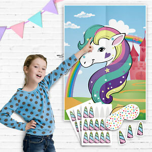 Pin the Horn on the Unicorn Games - Pin the Tail Game - Multi Player Party Game