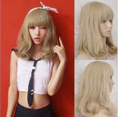 Fashion Women's Medium Long Curly Wavy Full Wig Blonde Hair Cosplay Costume
