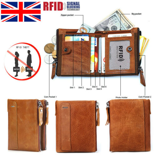 Men Zip Genuine Leather Soft Wallet RFID Blocking Card Holder Coin Pocket Purse