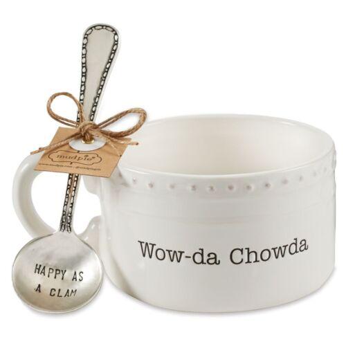 Mud Pie E9 Circa Seafood Dining Ceramic Chowder Soup Bowl /& Spoon 2pc Set