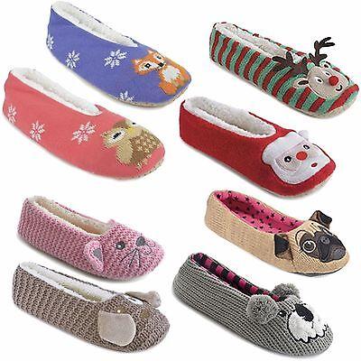 MUJER Navidad Zapatillas Novedad Polar Suave Dot Suela Invierno De casa Zapatos
