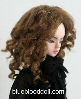 "1//3 bjd 9-10/"" doll head very deep brown synthetic mohair wig Soom Pullip Taeyan"