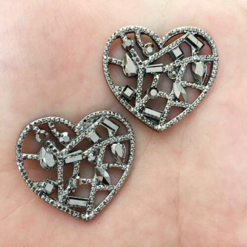 6pcs 30mm AB Resin Heart Flatback hollow out rhinestone scrapbook wedding DIY