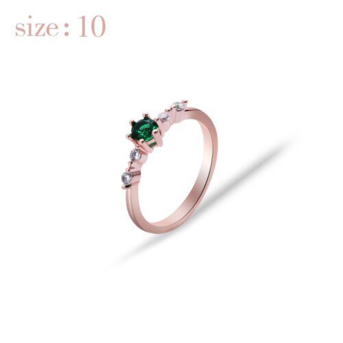 18k Rose Gold Endstück Ringe für Mädchen Runde-förmige natürliche Smaragd Strass