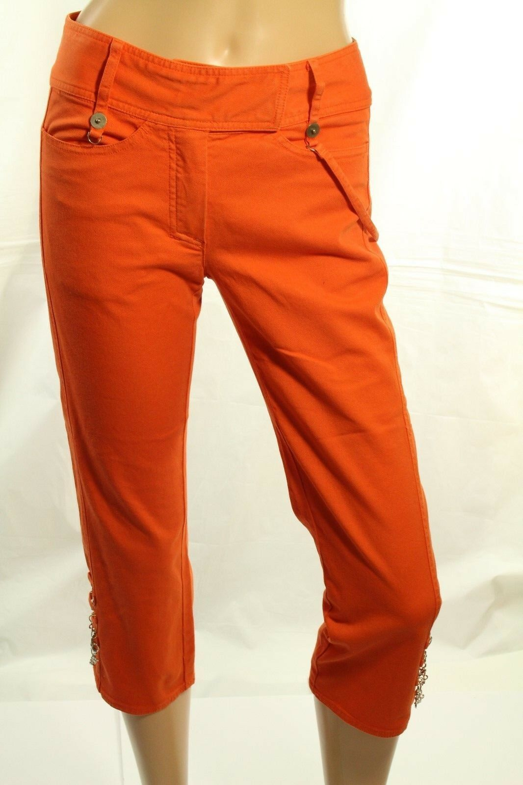 Roberta Scarpa Damen Capri Denim-Hose Orange Jeans Stretch