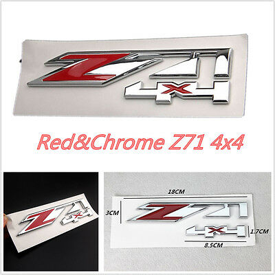 Red /& Chrome Z71 4x4 Emblem Badge Sticker  ABS For Chevrolet Silverado 1500 2500