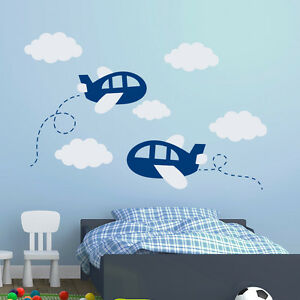Details About Airplane Wall Decals Plane Decal Clouds Vinyl Nursery Boy Room Decor Art Ma300
