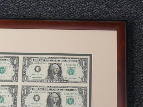 CUSTOM BROWN FRAME IVORY GREEN DOUBLE MAT FOR $1 bill 16 Uncut Sheet of Money