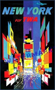 New-York-City-1957-Times-Square-TWA-Airline-Vintage-Poster-Print-Travel-Tourism