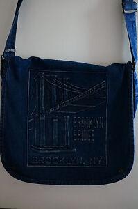 Brooklyn-Bridge-Denim-MESSENGER-BAG-Blue-Jean-Adjustable-Strap-Snap-Closures