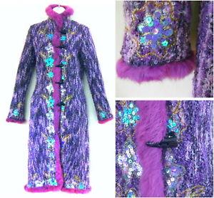d787dd1998 Image is loading Cacharel-Evening-coat-36-4-Purple-Sequins-Fur-