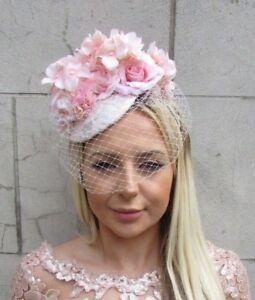 3efc7716d6813 Silver Blush Light Pink Rose Birdcage Veil Flower Hair Fascinator ...