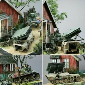 1-35-Scale-Dioramas-Ruins-House-Models-Kits-Wood-WW2-Military-Sand-Building-BUS