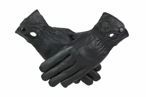 Womens Ladies 100/% Green Leather Gloves With Cuff Button Warm Fleece Lined