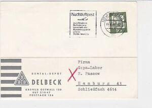 Germany-1962-Krefeld-Cancel-Night-Flight-Post-Slogan-Stamps-Card-Ref-27927