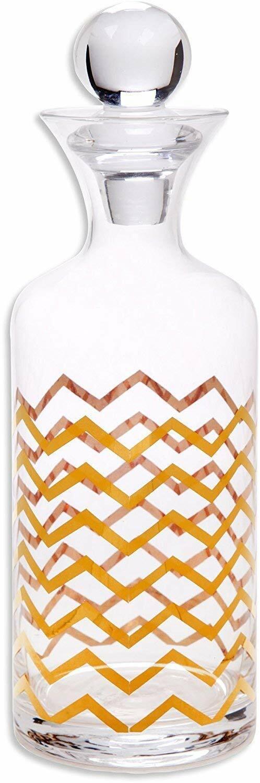 Chevron 30 Oz Crystal Whiskey Decanter Handmade, 24K or Ornament