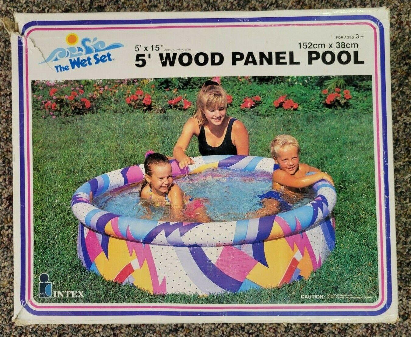 Vintage NIOB 90s Intex Wet Set Inflatable 5' Wood Panel Kiddie Pool 1992