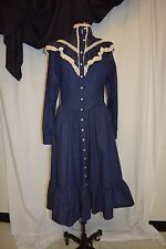 Western Square Dance Country Blue Jean Denim Dress Long Sleeve Sz 11-12 Average