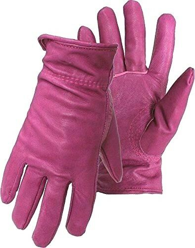 LADIES LEATHER GLOVES WITH PINK ROSE SIZE XSMALL TO 3XL ON SALE GLZ106-EBL-PINK