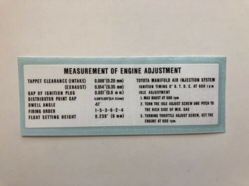 Engine Adjustment Decal for /'68 to /'74 Toyota Land Cruiser FJ40