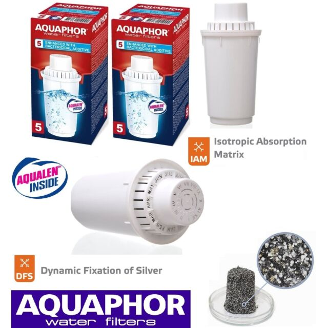 B100-5 AQUAPHOR 2 Replacement Cartridges With Bactericidal Additive,Filter Jug