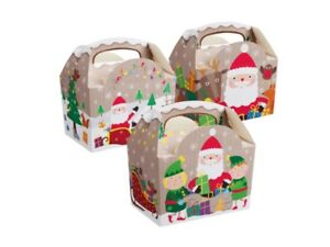 12 x christmas party food boxes kids santa snowman xmas meal bag