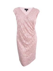 Connected-Women-039-s-Plus-Surplice-Sequined-Lace-Dress