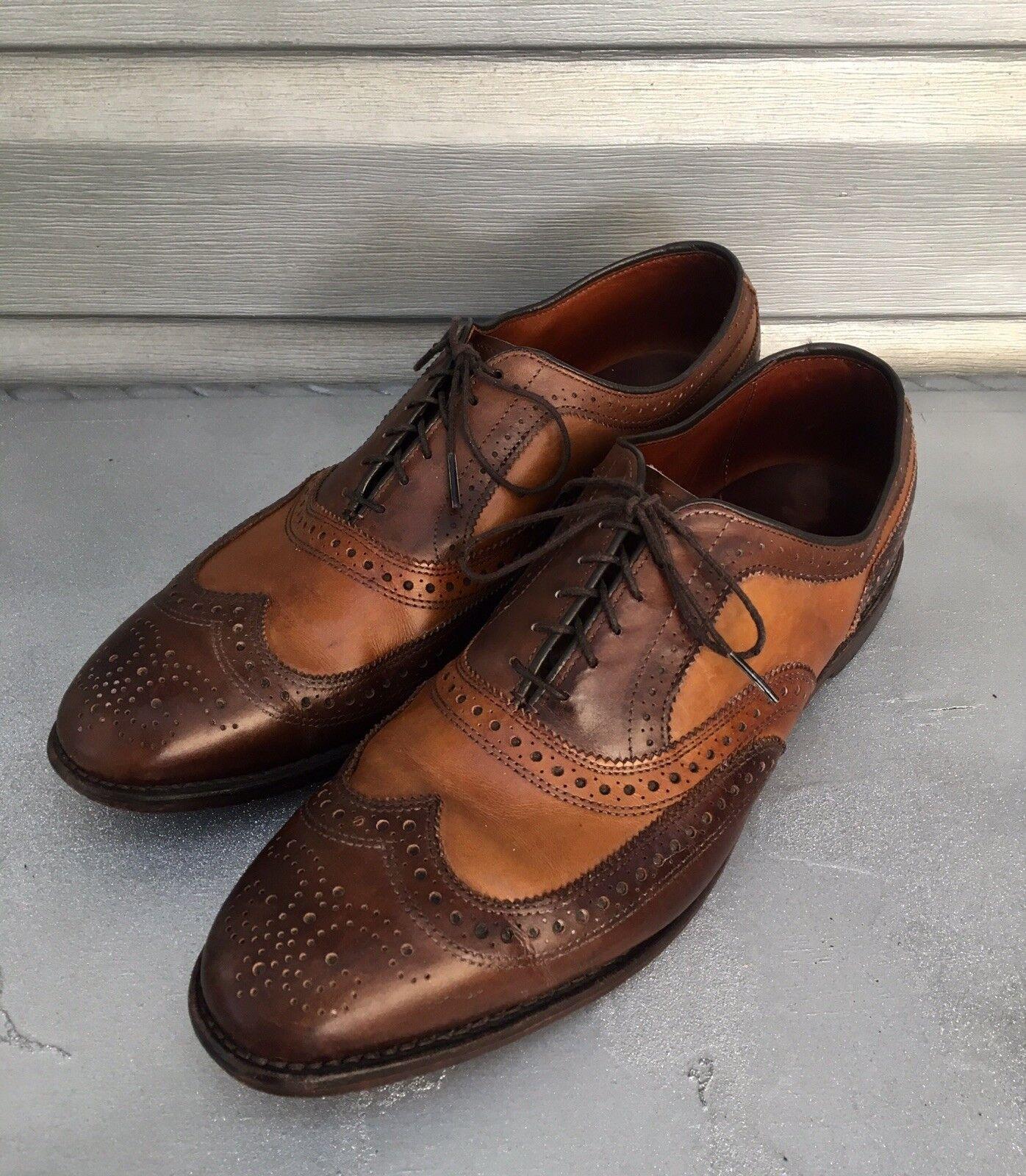 ALLEN EDMONDS braun Cognac Broadstreet Leather Wing Tip Tip Wing Oxford Dress schuhe RARE effb19
