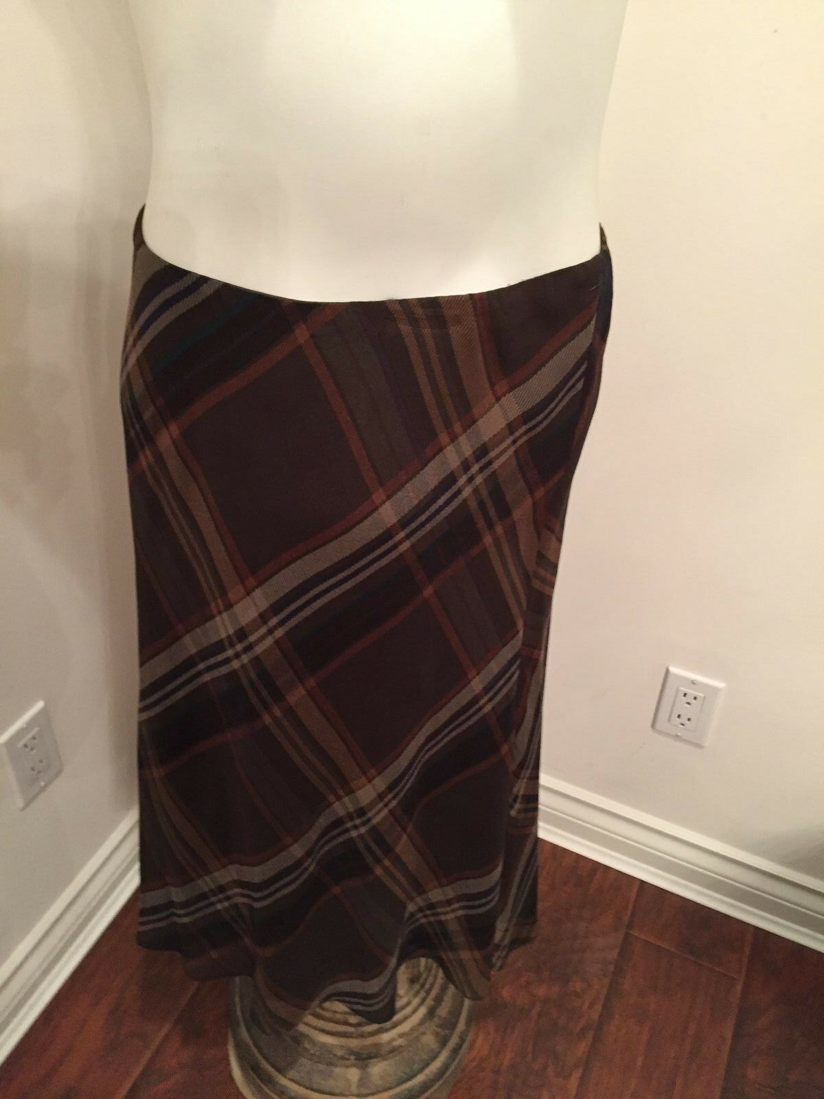 RALPH LAUREN, WOMEN'S Brown Plaid 100% Silk Knee Length Lined Skirt Size Medium