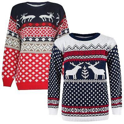 Angemessen New Mens Womens Unisex Aztec Reindeer Print Xmas Jumper Knitted Sweater Top