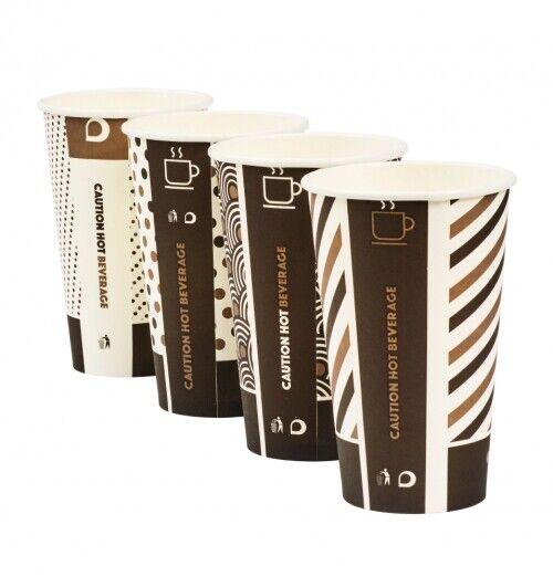 1000 16oz Mixed Design Bamboo Cups Weiß Lids Biodegradable Compostable Hot Cup