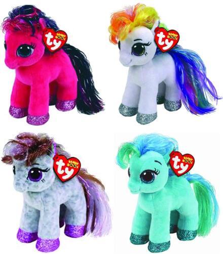 Set of 4 Ty Beanie Boos 6 Starr Ruby Cinnamon Topaz Horse Pony Plush Heart Tags