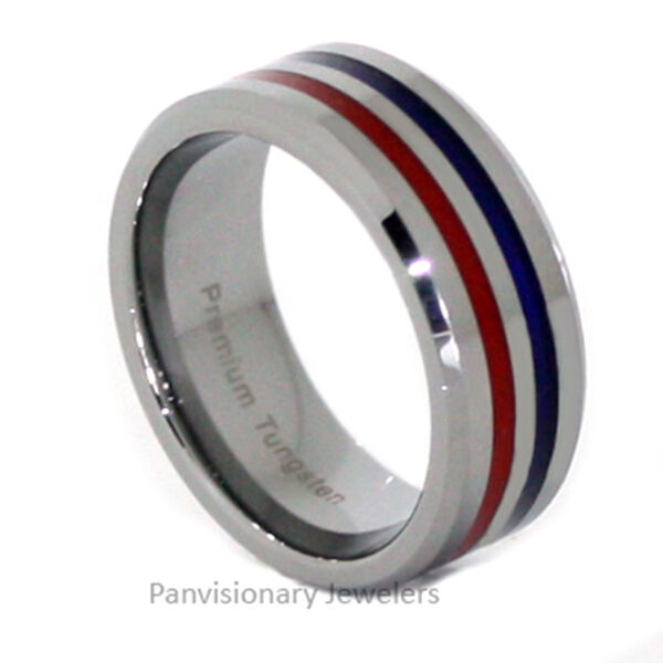 Thin Blue Line Ring Tungsten Carbide Red and Blue 8MM Flat Profile Beveled Edges