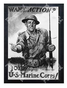 Historic-U-S-Marines-Corps-Recruits-WWI-Advertising-Postcard